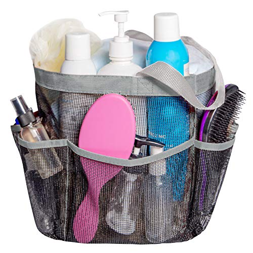 Attmu Mesh Shower Caddy, Quick Dry Shower Tote Bag Oxford Hanging Toiletry and Bath Organizer with 8 Storage Compartments for Shampoo, Conditioner, Soap and Other Bathroom Accessories, Grey (Shower Dry Quick Mesh Caddy)