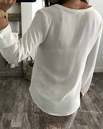 V Col Manches Top Mousseline Tunique Blouse Longues Shirts Chemisier Haut Femme Guiran Blanc Tops SYqnw0xUCY