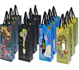 12 Pack Single Bottle Wine Gift Bags - Vineyard Print Theme Wedding Anniversary Birthday, All Occasion Gift Bag for Liquor, Wine, Spirits Bottles