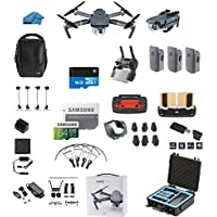 DJI Mavic PRO FLY MORE COMBO Portable Collapsible Mini Racing Drone with 3 Total Batteries, DJI Bag + 64GB SD Card + Reader, Car Charger, Range Extender, Landing Gear, Prop Guards + HardCase
