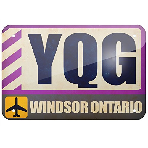 Windsor Metal Plaque (Metal Sign Airportcode YQG Windsor Ontario, Large 12x18