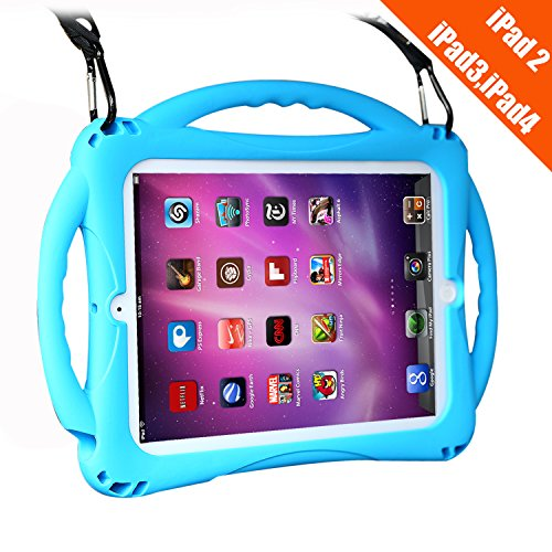 iPad 2 Case for Kids,TopEsct Shockproof Silicone Handle Stand Case Cover&(Tempered Glass Screen Protector) for Apple iPad 2,iPad 3,iPad 4