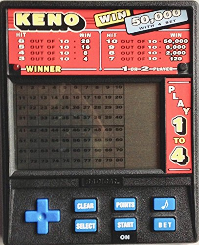 Radica: Ltd, Radica Model: 1480 Radica KENO LCD ELCTRONIC Handheld Game WIN 50,000 with 4 BET Play 1 to 4 with Buttons of 4 Way Directional COntrol Button, Clear Button, Select Button, Points Button, Start/ON Button, Sound Symbol Button and Bet Button