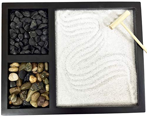 Deluxe Wooden Zen Sand Garden with 2 Types of Rocks, Sand, and -