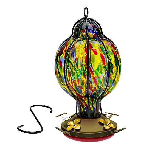 Hand Blown Glass Hummingbird Feeder, Tiffany Treat, Multi-Color