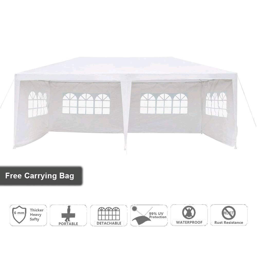 VINGLI 10' x 20' Canopy Wedding Party Tent with 4 Removable Sidewalls, Updated Tube Steel & Top Design, Anti-UV Protection Outdoor Wedding Tent Canopy Gazebo Storage Shelter Pavilion