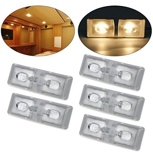 Partsam 5pcs Euro Style Incandescent Halogen Rv Interior Dome Ceiling Lamp Double Lens Light