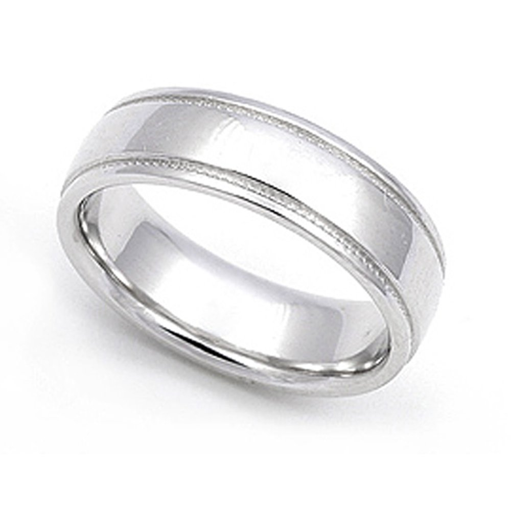 14k White Gold 5.5mm Milgrain Wedding Band Ring, 8.5 by Juno Jewelry