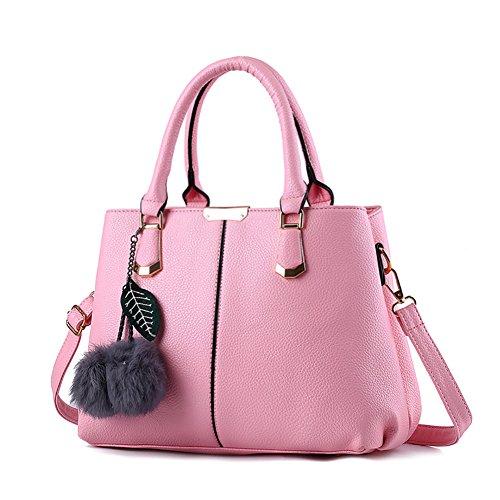 (G-AVERIL)Donna PU in pelle Donna Borsa Handbag borsa a Spalla Borse a mano Tote Bag Shoulder Bag rosa