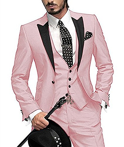 Pink Tuxedo - LoveeToo Slim Fit Business Mens Suit 3 Piece Formal Blazer Tux Vest & Trousers Tuxedos (L,Pink)