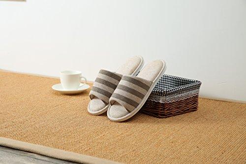 Y-Nut Linen Cotton Winter Indoor Slipper, Men Women Couple Indoor Warm Soft Clog Open Toe Brown Stripe TX01-BRN