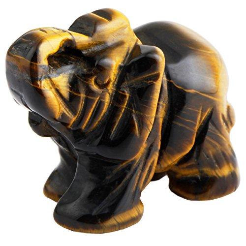Amulet Tiger Eye (SUNYIK Tiger's Eye Stone Elephant Pocket Carving Bookend Amulet Figurine Decor 2