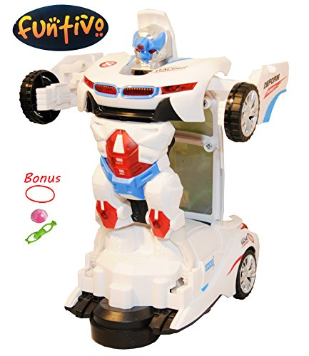 FUNTIVO Bump-N-Go Transforming Robot Car Toy with 3D Lights and Sounds, Battery Operated