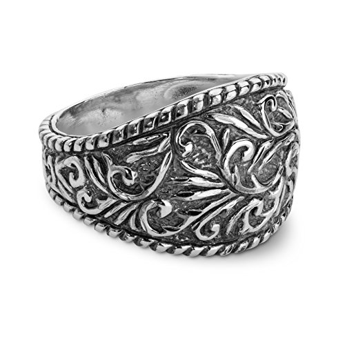 Silver Ring Scroll Borders - American West - Sparkling Diamond Cut Silver Ring - 7 - Denim N' Diamonds Collection