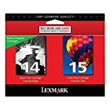 Lexmark #14/#15 X2600/X2670 Black/Color Return Program Ink Includes 1 Each Of 18c2090 & 18c2110 Sell Only ONE by Lexmark