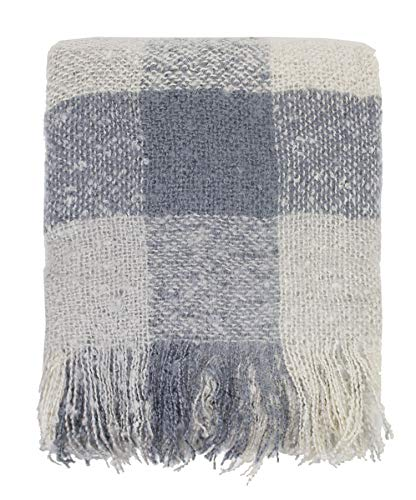 (Fennco Styles Cozy Faux Mohair Plaid Fringed Soft Warm Throw Blanket, 50