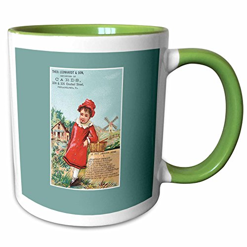 3dRose BLN Vintage Trade Cards Featuring Children - Importers of Cards Philadelphia PA Girl in a Red Coat with a Basket - 11oz Two-Tone Green Mug - Outlets Philadelphia Pa In
