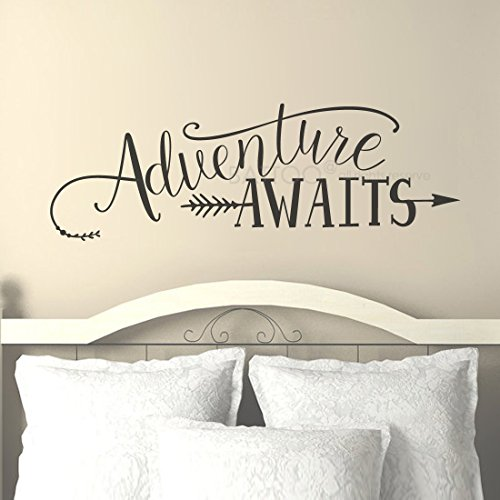 BATTOO Adventure Awaits Wall Decal Quote, Vinyl Lettering with Arrow, Adventure Quote Travel Wall Decal Sticker 22