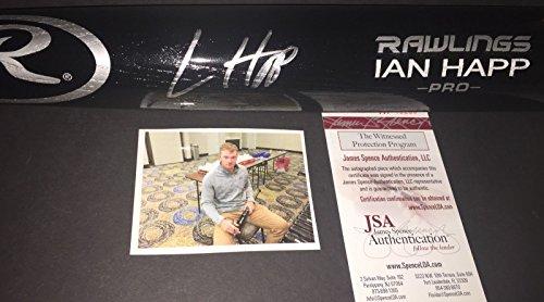 (Ian Happ Chicago Cubs Autographed Signed Engraved Bat JSA WITNESS COA Black)