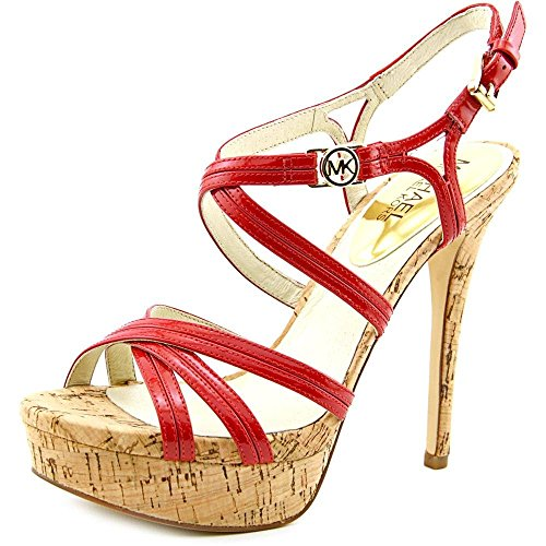 Michael Michael Kors Cicely Platform Open Toe Leather Platform Heel (5.5) Red