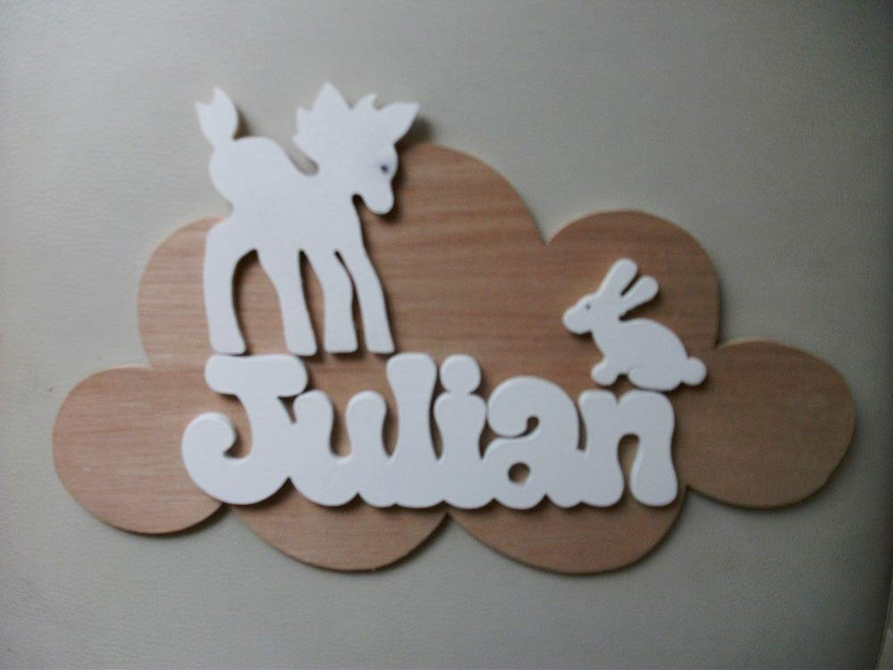 plaque de porte personnalisée prénom en bois nuage chambre enfant