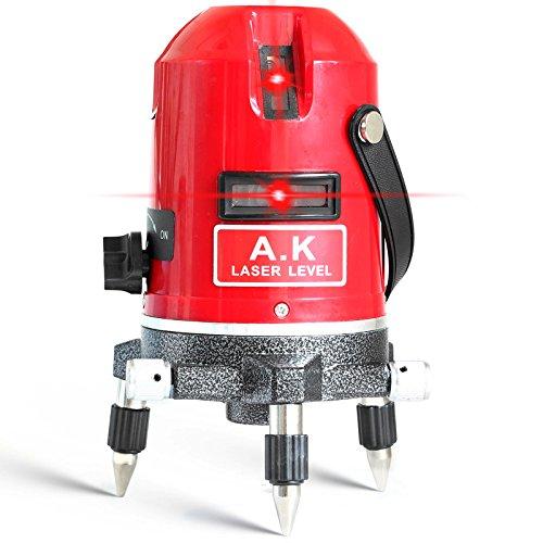 AK 5Line 6Point Laser-Wasserwaage, 360Grad Rotary Kreuz Laser Line Level, mit Outdoor Modus und Modus, selbst-Leveling 635nm Lazer Level