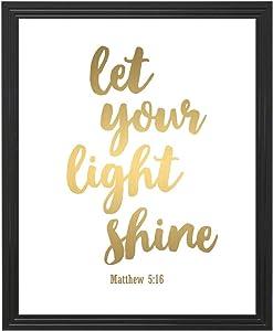 Eleville 8X10 Unframed Let Your Light Shine Matthew Bible Verse Inspirational Gold Foil Art Print wgn134