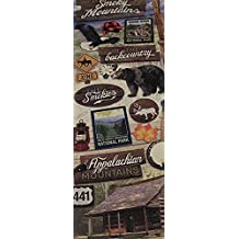 "Custom & Decorative {1"" to 3"" Inch} 18 Piece Pack of Mid-Size Stickers for Arts, Crafts & Scrapbooking w/ ""Appalachian Mountains"" Banjo, Cabin, Lantern, & Signs {Brown, White, Green, Black, & Tan}"