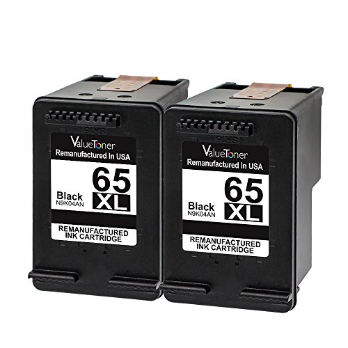 Hp Deskjet 300 (Valuetoner Remanufactured Ink Cartridge Replacement for HP 65 XL 65XL High Yield N9K04AN (2 Black) Compatible for HP DeskJet 3755 2655 3758 3720 3721 3730 3732 3752 2642 2622 all-in-one Printer)