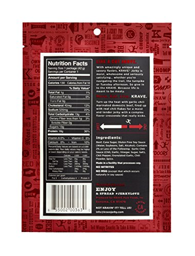 Krave Beef Jerky, Garlic Chili Pepper, 1.5 Ounce (Pack of 18)