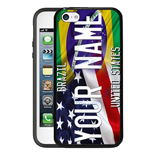 (BRGiftShop Customize Your Own Mixed USA and Brazil Flag Rubber Phone Case for Apple iPod Touch 5th & 6th Generation)
