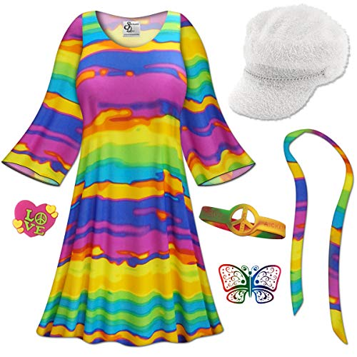 Rainbow Gogo Dancer Plus Size Halloween Costume Basic Kit 9x/Regular ()