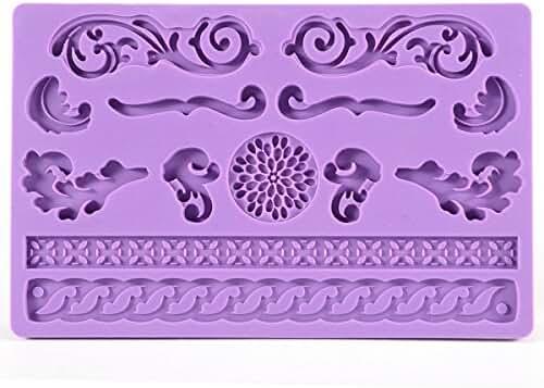 Elinka Lace Flower Rose Leaf Shaped Silicone Mold Fondant Cake Decoration Baking Tool