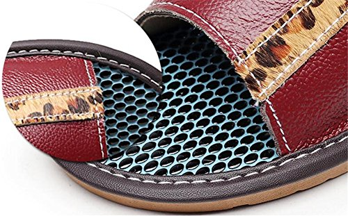 Women Men Leather Corium Wooden Anti Spring Vin Autumn Cowhide TELLW Slippers Summer W for Rouge Smelly Floor OH44U