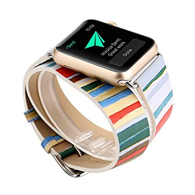 Rykimte Leather Watch Band For Apple Watch iWatch Replacement 38mm 42mm Strap Wristband with Adjustable Buckle Quick Release