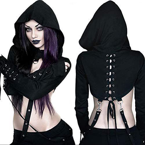 (Enfei Womens Sexy Hoodies Bandage Metal Crop Tops Halloween Costume Hooded Pullover Sweatshirts for Gothic)
