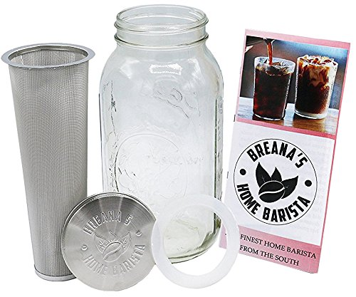 Breana's Home Barista Mason Jar - Cold Brew Coffee and Iced Tea Maker - Premium Quality Cold Brew System - 64 oz. 2 Quart Ball Mason Jar W/Stainless Steel Lid Filter Basket & BPA Free Silicone Seal Stainless Steel Coffee System