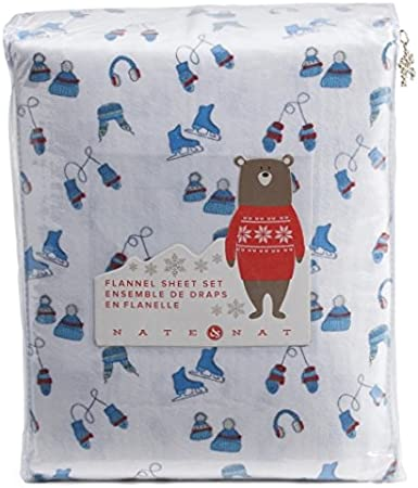 RED WINTER MITTEN XMAS FLANNEL SHEET SET FLAT FITTED 2 PILLOWCASES FULL SIZE