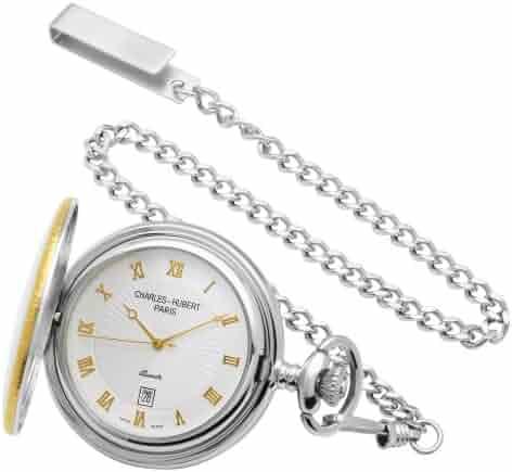 Charles-Hubert, Paris Sterling Silver Two-Tone Pocket Watch