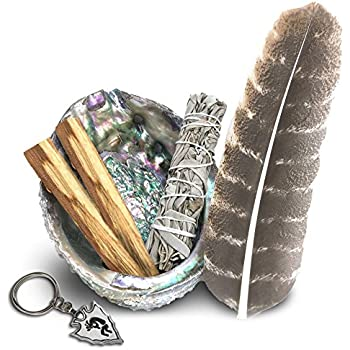 JL Local Smudge Kit - White Sage, Palo Santo, Abalone Shell, Smudging Feather, Kokopelli Keychain! Healing, Purifying, Meditating & Incense (Essentials)