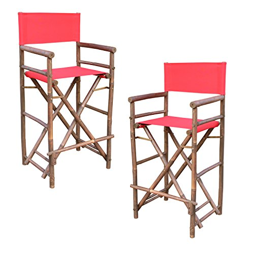 Canvas Set Chair (Zew Hand Crafted Tall Foldable Bamboo Director's Chair with Treated Canvas, Set of 2 Chairs, Espresso Finish, Red)
