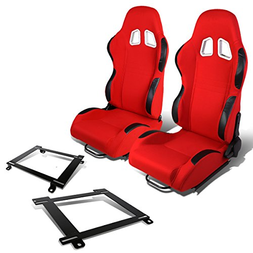 (RS-007-RD-BK Woven Fabric Reclinable Racing Seat+Bracket for Camaro/Firebird)