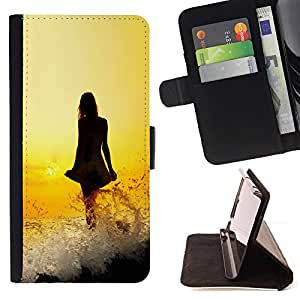 BullDog Case - FOR/Sony Xperia Z1 Compact D5503 / - / lady dress girl yellow fiery sunset ocean /- Monedero de cuero de la PU Llevar cubierta de la caja con el ID Credit Card Slots Flip funda de cuer