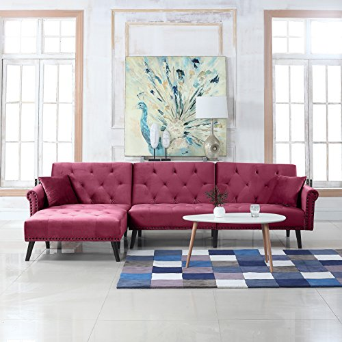 Reclining Sleeper Sectional (Mid Century Modern Style Velvet Sleeper Futon Sofa, Living Room L Shape Sectional Couch with Reclining Backrest and Chaise Lounge (Rose Red))