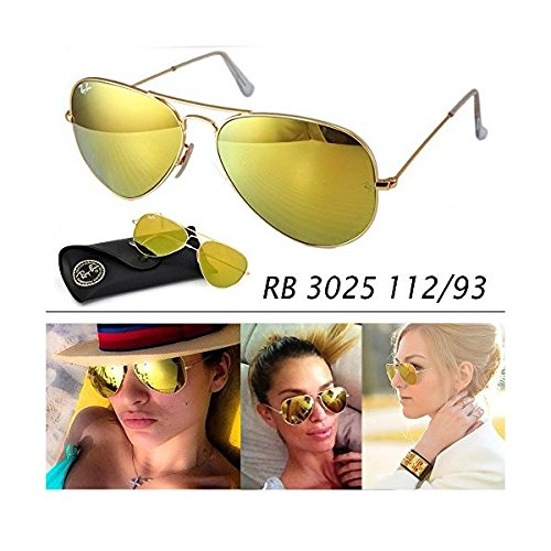 ray ban gold mirrored aviator sunglasses  amazon: ray ban original rb3025 112/93 aviator non polarized sunglasses, matte gold frame/ gold mirror lens, (medium 55mm): shoes