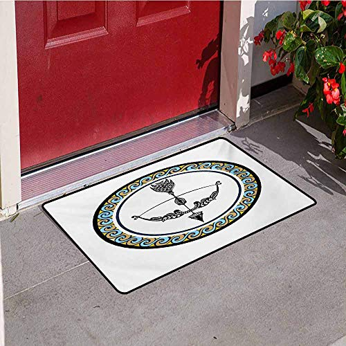 Jinguizi Zodiac Sagittarius Front Door mat Carpet Victorian Inspired Bow and Arrow Design with Colorful Curves and Swirls Machine Washable Door mat W29.5 x L39.4 Inch Multicolor