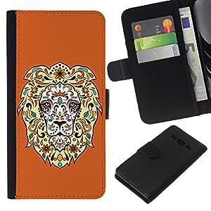 EJOY---La carpeta del tirón la caja de cuero de alta calidad de la PU Caso protector / Samsung Galaxy A3 / --Enfriar impresionante león floral