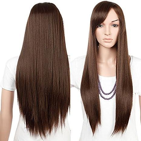 S-noilite Peluca Kanekalon de pelo rizado y liso, para diario