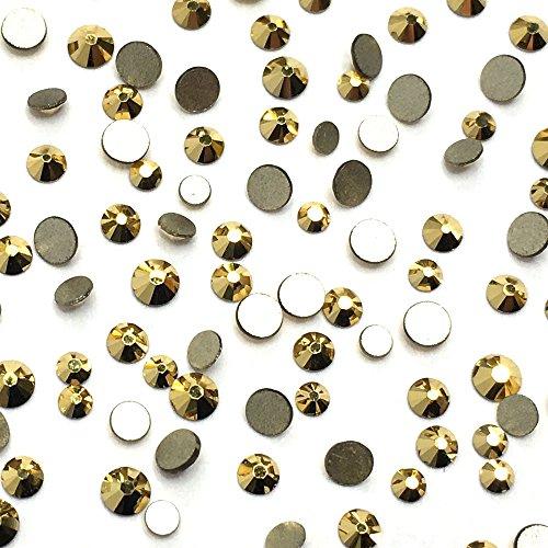 Crystal Aurum (001 AUR) Gold 2058 Swarovski Nail Art Tiny Small Mixed Sizes ss5 ss7 ss9 Flatbacks No Hotfix Rhinestones by Paradise Station