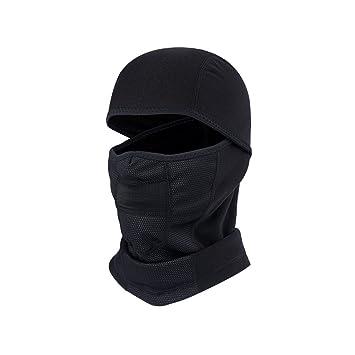 Hzjundasi Negro Cuello Cara Gorra Sombrero Protector Máscara Cubrir para Al  aire libre Ciclismo Esquiar Motocicleta 5ef6b16d248